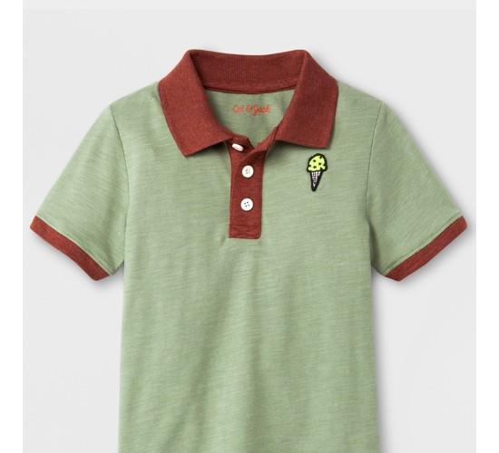 Toddler Boys' Short Sleeve Polo Shirt - Cat & Jack™ Sage