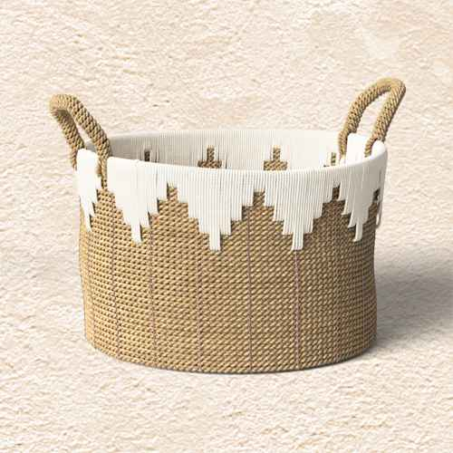 """15"""" x 11"""" Braided Basket with Rope Natural/White - Opalhouse™"""