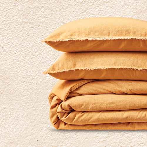 Full/Queen Heavyweight Linen Blend Comforter & Sham Set Honey - Casaluna™