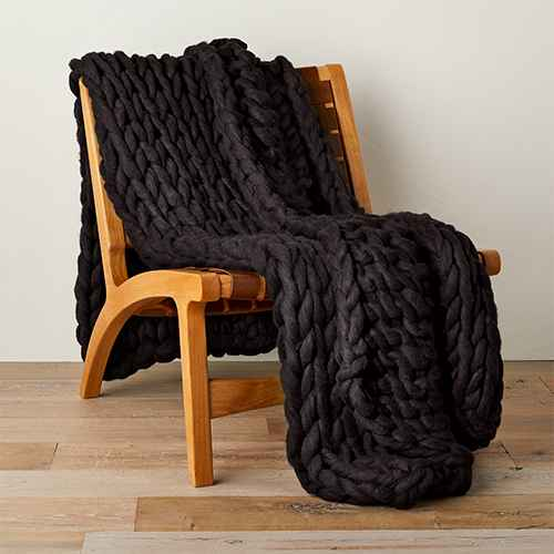 """50"""" x 70"""" Oversized Chunky Hand Knit Decorative Bed Throw Washed Black - Casaluna™"""