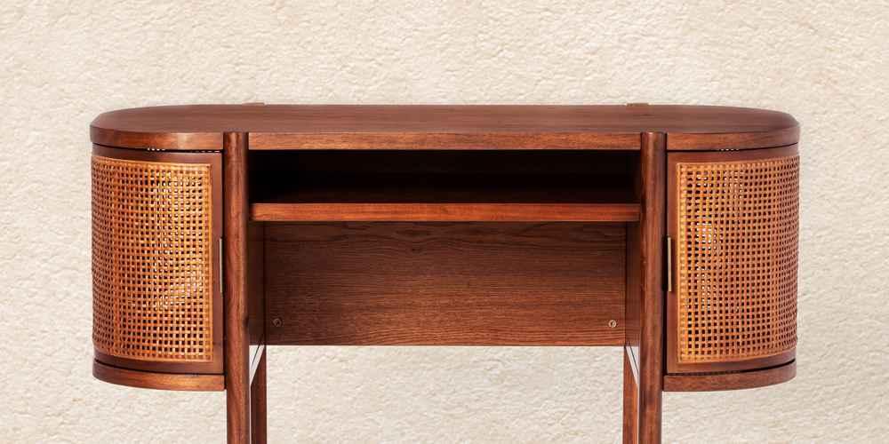 Portola Hills Caned Desk Walnut - Threshold™ designed with Studio McGee