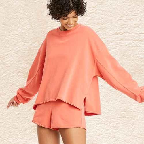 Women's French Terry Crewneck Lounge Sweatshirt - Colsie™, Women's French Terry Lounge Shorts - Colsie™ Orange XS