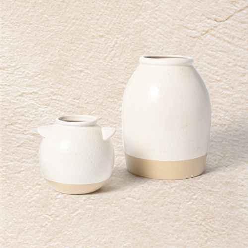 """11"""" x 8"""" Crock Stoneware Vase Beige - Threshold™ designed with Studio McGee, 6"""" x 6"""" Crock Stoneware Vase Beige - Threshold™ designed with Studio McGee"""