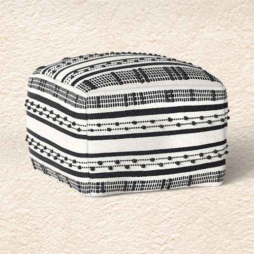 Lory Pouf Black Textured - Opalhouse™