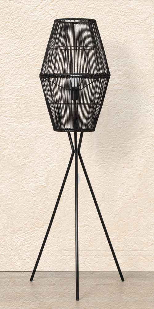 Rattan Diamond Tripod Floor Lamp Black (Includes CFL Light Bulb) - Opalhouse™