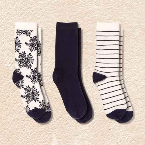 Women's Rose 3pk Crew Socks - A New Day™ Cream/Navy 4-10