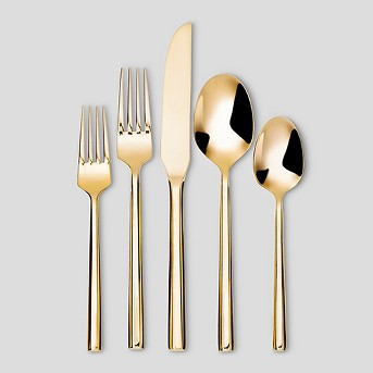 5pc Stainless Steel Izon Mirror Silverware Set Gold - Project 62™