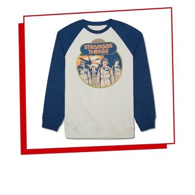 Menu0027s Stranger Things Ghostbusters Raglan Sweatshirt