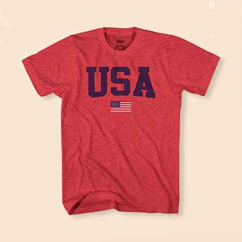 Men's USA Short Sleeve Graphic T-Shirt - Heather Red M