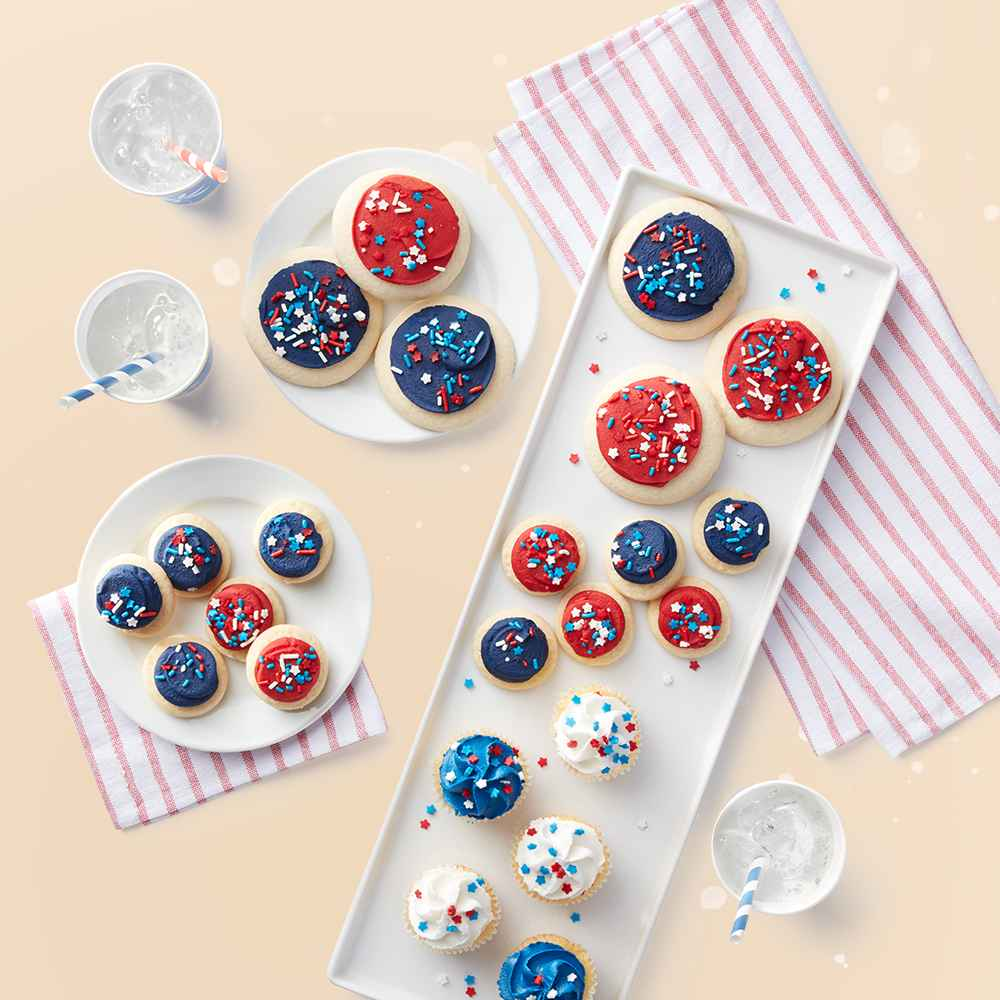 Red & Blue Mini Frosted Sugar Cookies - 18ct - Favorite Day™, Patriotic Vanilla Mini Cupcakes - 12ct - Favorite Day™, Red & Blue Frosted Sugar Cookies - 10ct - Favorite Day™