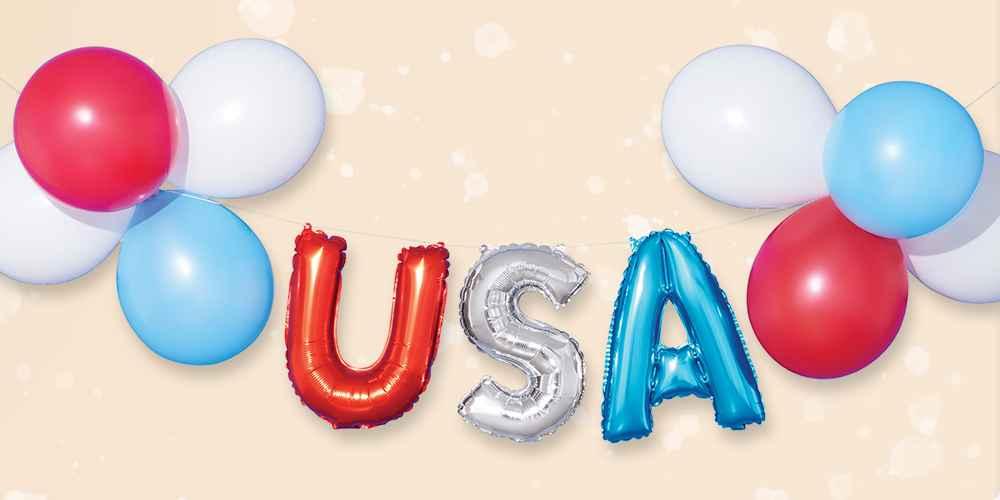 USA Mylar Balloon Garland Red White Silver - Sun Squad™