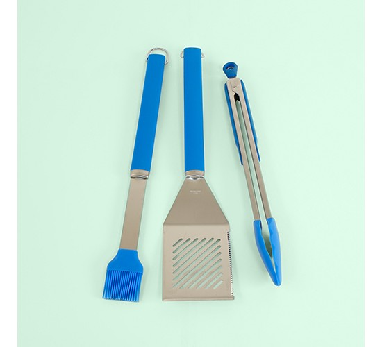 3pc BBQ Tool Set Sneaky Blue - Evergreen