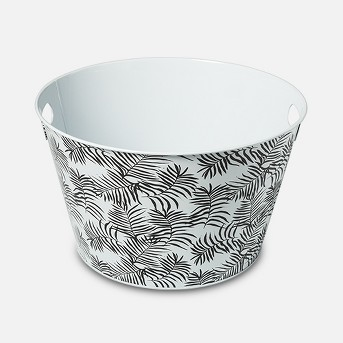 Steel Beverage Storage Tub Small Black/White Palms - Room Essentials™