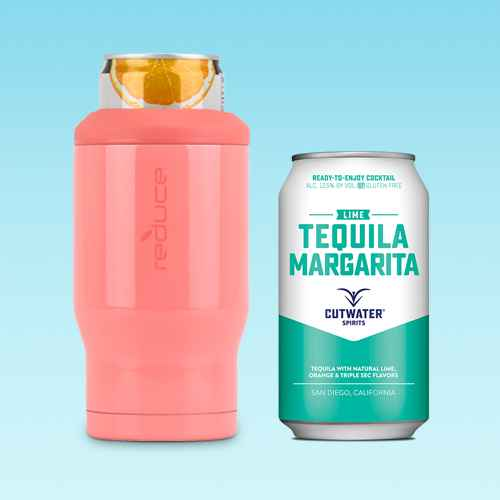 Reduce 2pk Can Cooler Coral/White, Cutwater Lime Tequila Margarita Cocktail - 4pk/12 fl oz Cans