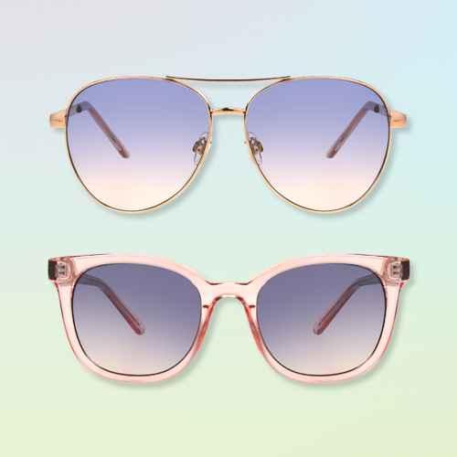 Women's Aviator Sunglasses - A New Day™ Gold, Women's Crystal Surfer Shade Sunglasses - A New Day™