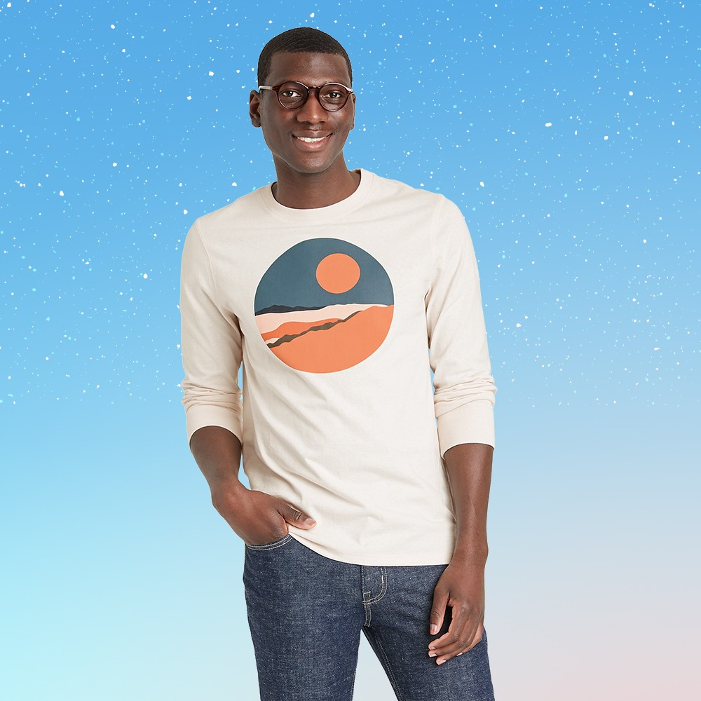 Men's Long Sleeve Graphic Crewneck T-Shirt - Goodfellow & Co™ Ivory/Sun XXL