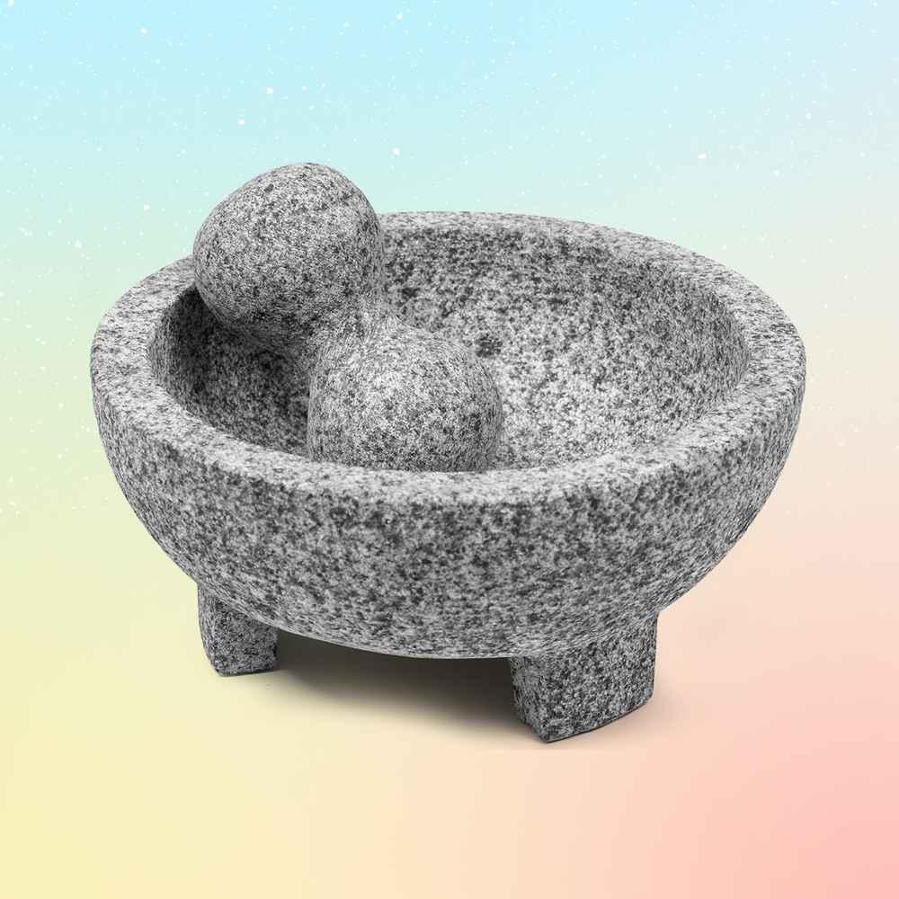 """Imusa 8"""" Granite Molcajete, Cole & Mason Mortar and Pestle Gray, Adhoc Cast Iron Mortar and Pestle Crush"""