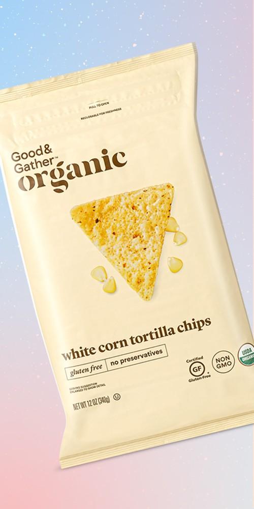 Organic White Corn Tortilla Chips - 12oz - Good & Gather™, Organic Yellow Corn Tortilla Chips - 12oz - Good & Gather™, Organic Blue Corn Tortilla Chips with Flax Seeds - 12oz - Good & Gather™, Organic Blue Corn Tortilla Chips - 12oz - Good & Gather™