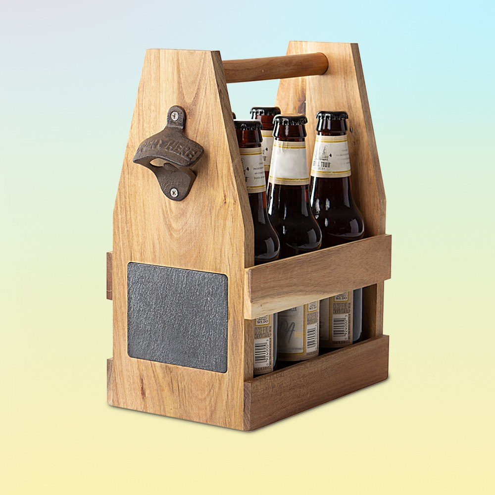 Acacia and Slate Beer Carrier Wood