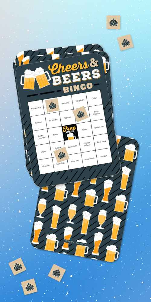 Big Dot of Happiness Cheers and Beers Happy Birthday - Beer Tasting Bingo Cards and Markers - Birthday Party Bingo Game - Set of 18