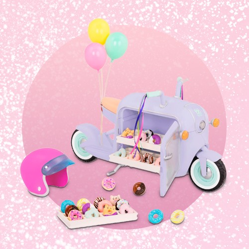 Glitter Girls Donut Delivery Scooter with Electronics, Glitter Girls Cotton Candy Machine, Glitter Girls Sweet Shop with Electronics and Play Candy, Glitter Girls Pop-Pup Shop on Wheels
