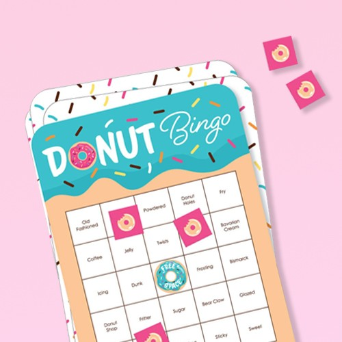 Big Dot of Happiness Donut Worry, Let's Party - Bingo Cards and Markers - Doughnut Party Bingo Game - Set of 18