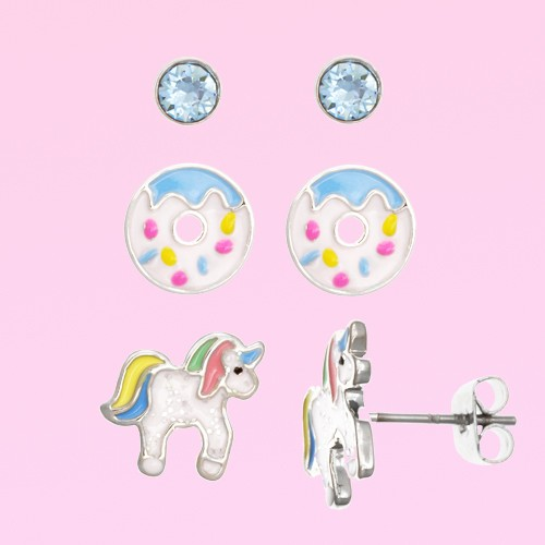 FAO Schwarz Crystal, Donut, Unicorn Stud Earring Set