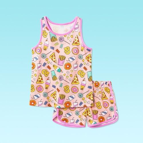 Girls' 2pc Junk Food Pajama Set - Cat & Jack™ Pink XS