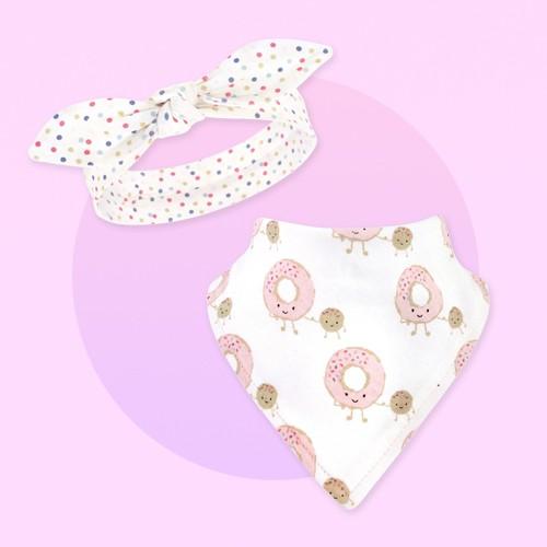 Hudson Baby Infant Girl Cotton Bib and Headband Set 5pk, Donut Hole, One Size