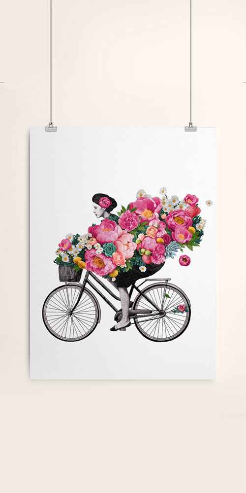 AmericanFlat Floral Bicycle by Laura Graves Unframed Print