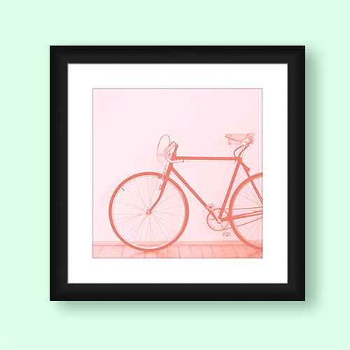 """18"""" x 18"""" Matted to 2"""" Medium Romantic Bike Picture Framed Black - PTM Images"""