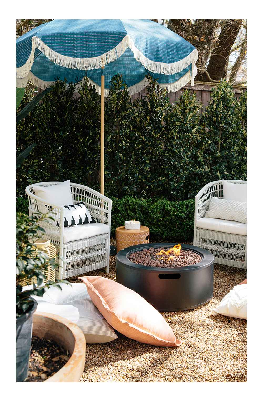 """7.2' Round Fringed Patio Umbrella Teal - Opalhouse™, 5' x 7' Outdoor Rug Tufted Cream - Opalhouse™, Reversible Floor Cushion DuraSeason Fabric™ Tan/Veranda Stripe - Threshold™, Throw Pillow Black Pyramid - Project 62™, 8.8"""" Round Resin Outdoor Lantern Natural - Threshold™, 18"""" Rattan Flameless Candle Outdoor Lantern Beige - Threshold™, Mulberry 2pk Patio Club Chairs - White - Threshold™, 24"""" Decorative Throw Pillow DuraSeason Fabric™ Flanged Melon - Threshold™, 36"""" Round Pipestone Outdoor LP Fire Pit - Project 62™, 14.5oz Terrazzo Candle Green - Project 62™, Global Terracotta Patio Accent Table - Opalhouse™"""