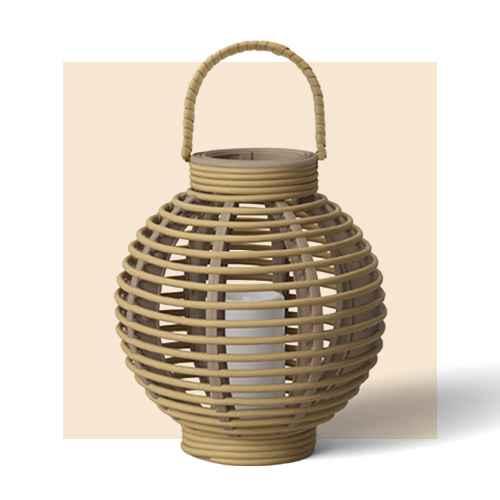"8.8"" Round Resin Outdoor Lantern Natural - Threshold™"