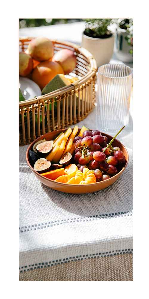 """13"""" x 4.5"""" Rattan Tray Basket Natural - Opalhouse™, 4"""" Earthenware Ceramic Planter Striped Gray - Project 62™, 10.5"""" Melamine and Bamboo Dinner Plate White - Threshold™, 25oz Melamine and Bamboo Cereal Bowl Brown - Threshold™, 45oz Melamine and Bamboo Dinner Bowl Brown - Threshold™"""
