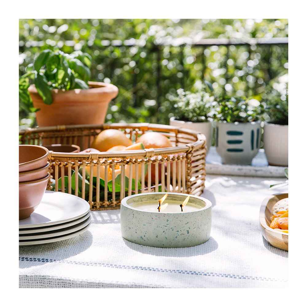 """13"""" x 4.5"""" Rattan Tray Basket Natural - Opalhouse™, 14.5oz Terrazzo Candle White - Project 62™, 10.5"""" Melamine and Bamboo Dinner Plate White - Threshold™, 25oz Melamine and Bamboo Cereal Bowl Brown - Threshold™, 4"""" Earthenware Ceramic Planter Striped Gray - Project 62™, No. 1 Terrazzo Concrete Long Tray White - Project 62™, 4"""" Textured Ceramic Planter White - Opalhouse™, 50""""x60"""" Border Striped Cotton Throw Blanket Neutral - Threshold™"""