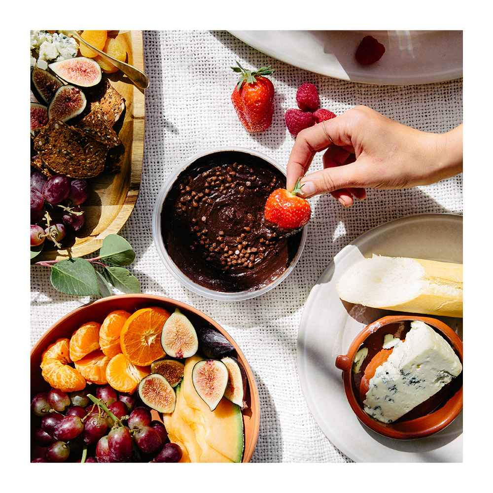 "Brownie Batter Dessert Hummus - 10oz - Good & Gather™, Strawberries - 1lb Package, 45oz Melamine and Bamboo Dinner Bowl Brown - Threshold™, 10.5"" Melamine and Bamboo Dinner Plate White - Threshold™, 20"" x 13"" Acacia Serving Tray - Threshold™, 25oz Melamine and Bamboo Cereal Bowl Brown - Threshold™"