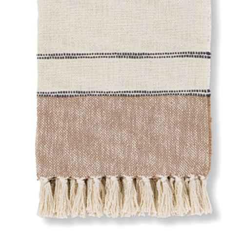 """50""""x60"""" Border Striped Cotton Throw Blanket Neutral - Threshold™"""