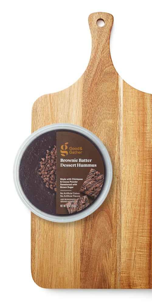 "20"" x 10"" Acacia Wood Paddle Board - Threshold™, Brownie Batter Dessert Hummus - 10oz - Good & Gather™"