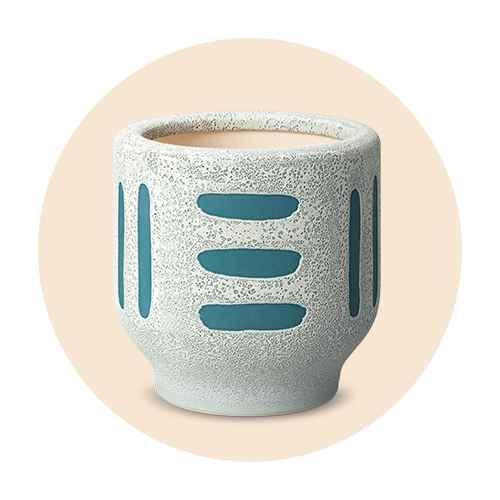 """4"""" Earthenware Ceramic Planter Striped Gray - Project 62™"""