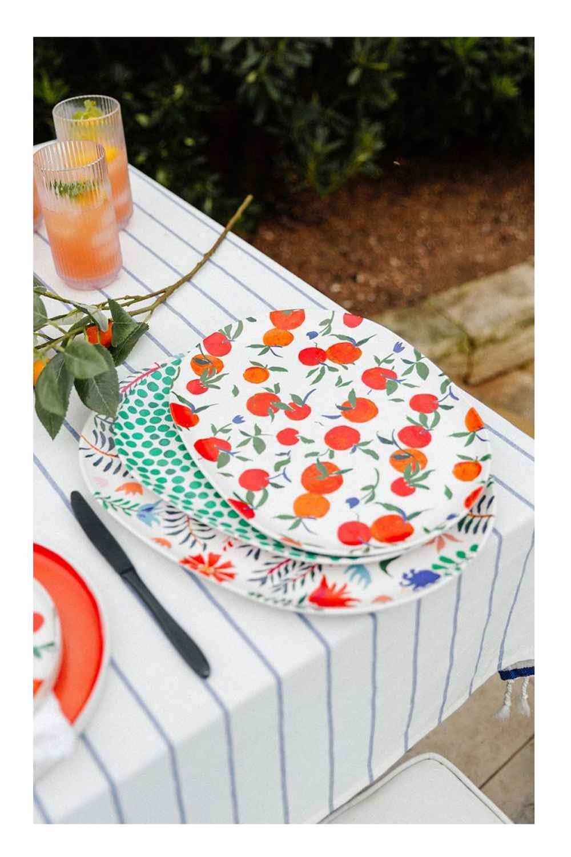 2pc Bamboo Melamine Floral Serving Platter Green - Opalhouse™, 2pc Bamboo Melamine Oval Serving Platters Orange - Opalhouse™