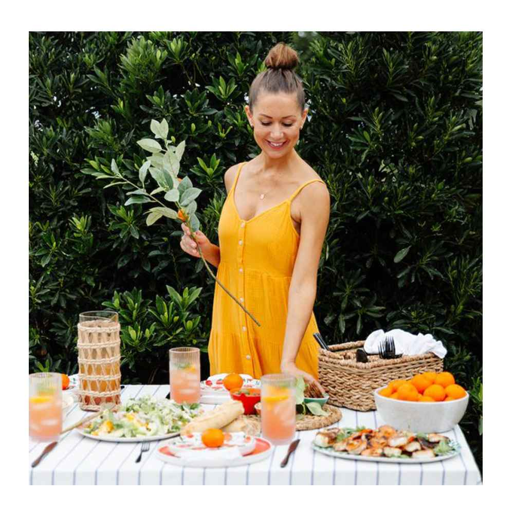 """2pc Bamboo Melamine Floral Serving Platter Green - Opalhouse™, 2pc Bamboo Melamine Oval Serving Platters Orange - Opalhouse™, Clementines - 3lb Bag, Chunky Seagrass Woven Utensil Caddy Beige - Threshold™, 28"""" Artificial Citrus Plant Stem with Leaves - Threshold™, 22oz Plastic Frenchie Jumbo Glass - Project 62™, Women's Sleeveless Button-Front Tiered Dress - Universal Thread™"""