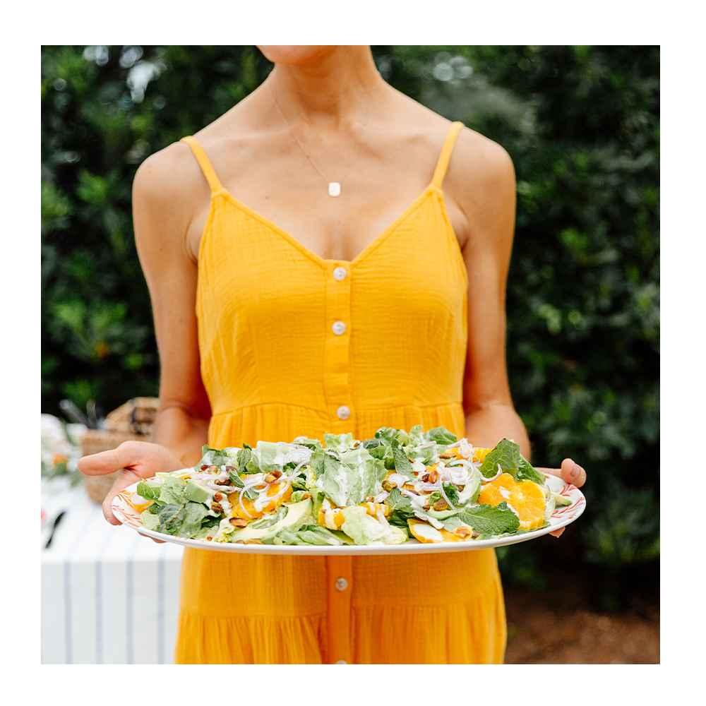 2pc Bamboo Melamine Oval Serving Platters Orange - Opalhouse™, Green Goddess Dressing - 12fl oz - Good & Gather™, Romaine Hearts - 3ct/22oz - Good & Gather™, Navel Orange - each, Avocado - each, Red Onion - each, Sea Salt Roasted Pistachio Kernels - 12oz - Good & Gather™, Organic Mint - 0.5oz - Good & Gather™
