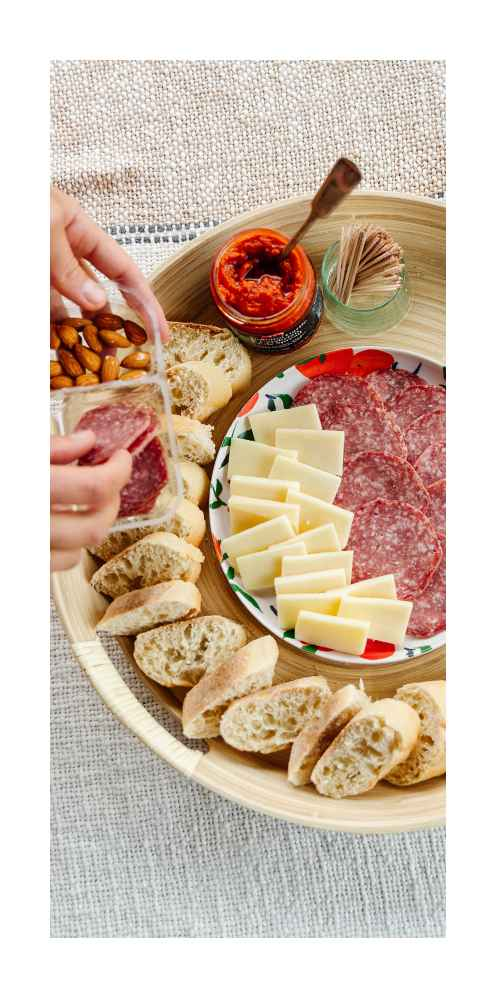 Signature Tomato, Garlic and Calabrian Chile Spread - 6.35oz - Good & Gather™, Genoa Salami, Provolone Cheese Slices, and Almonds - 2.25oz - Good & Gather™, Take And Bake Baguettes - 14oz/2ct - Favorite Day™, Organic Basil - 0.5oz - Good & Gather™
