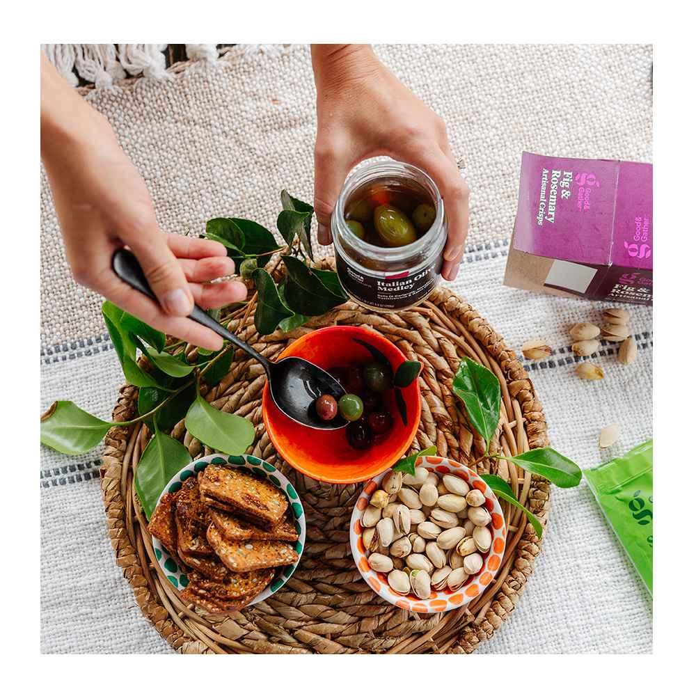Fig & Rosemary Cracker Crisp - 5.3oz - Good & Gather™, Sea Salt Roasted Pistachios - 7oz - Good & Gather™, Signature Italian Olive Collection - 9.8oz - Good & Gather™