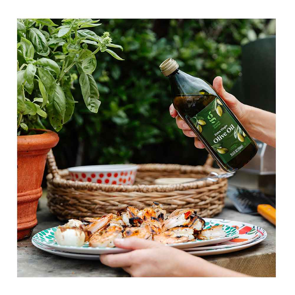 Jumbo tail On Peeled & Deveined Raw Shrimp - Frozen - 26-30ct - Good & Gather™, 2pc Bamboo Melamine Floral Serving Platter Green - Opalhouse™, Extra Virgin Olive Oil - 25.5 fl oz - Good & Gather™, Chunky Seagrass Woven Serving Tray Beige - Threshold™