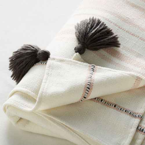 Throw Blanket Dusty Pink Stripe with Poms - Hearth & Hand™ with Magnolia