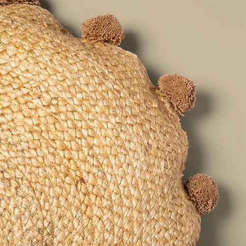 Oversized Round Jute Braided Pillow with Poms Neutral - Opalhouse™
