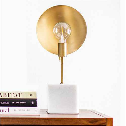 Loewy Brass Reflector Table Lamp with Marble Base Brass (Includes Energy Efficient Light Bulb) - Project 62™