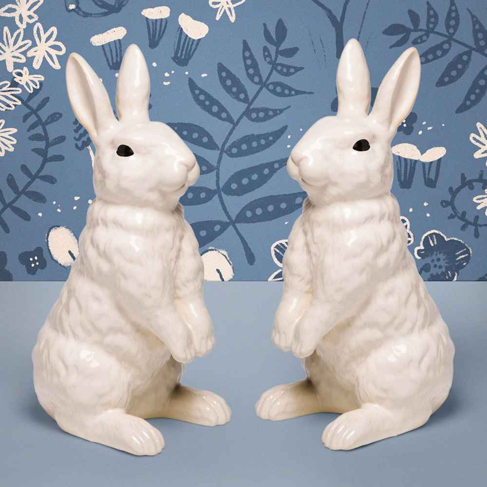 "12.6"" x 5.3"" Decorative Ceramic Bunny Figurine White - Threshold™"