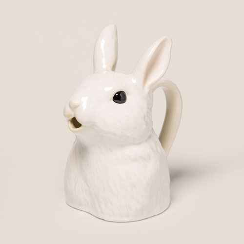 "9.2"" x 8"" Stoneware Bunny Shaped Pitcher Vase White - Threshold™"